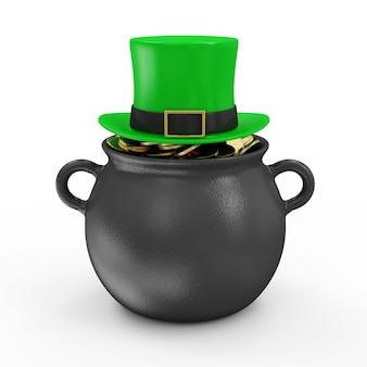전통적인 아일랜드 휴가를위한 황금 동전과 녹색 레프리 콘 모자가 달린 철 냄비 st patricks day