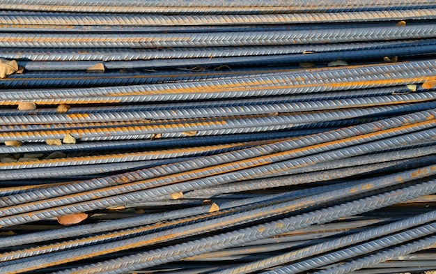 Iron rods for construction background