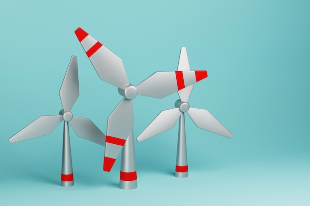 철 풍차 또는 풍차 3d 그림