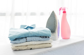 Ironing, clothes, housework and objects concept