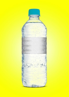 An irregular shaped plastic soda or mineral bottle colored surface
