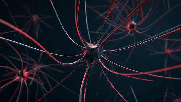 Irritated nerve cells in the body 3d illustration