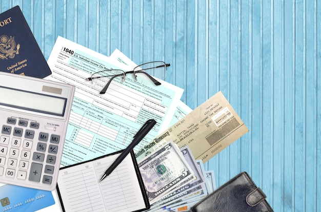 Irs form 1040 u.s. individual income tax return with refund check