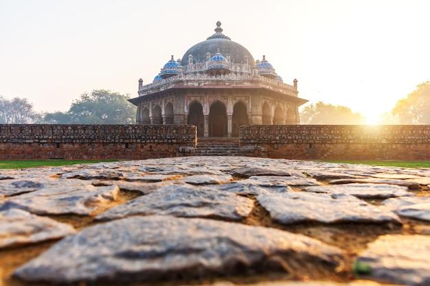 Isa khan's tomb in the morning sun, humayun's tomb complex, new delhi, india.