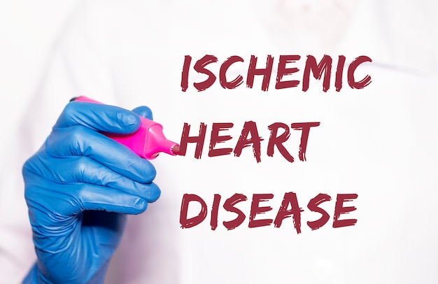 Ischemic heart disease inscription. coronary disease. medical concept.