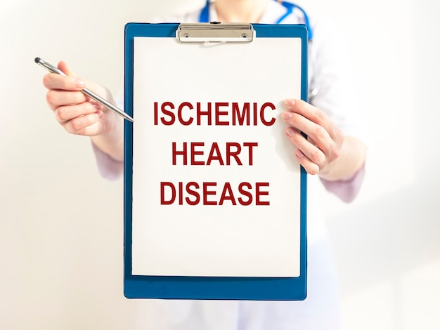 Ischemic heart disease inscription. coronary disease. medical concept