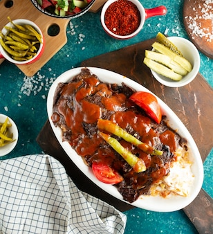 Iskender doner on the table