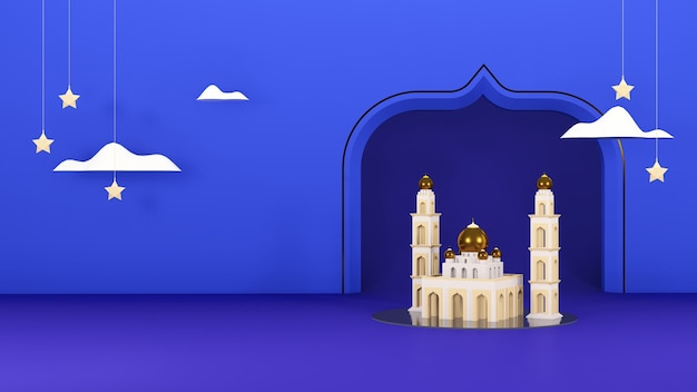 Islamic 3d render arabic eid mubarak muslim holiday theme background with mosque cloud and stars
