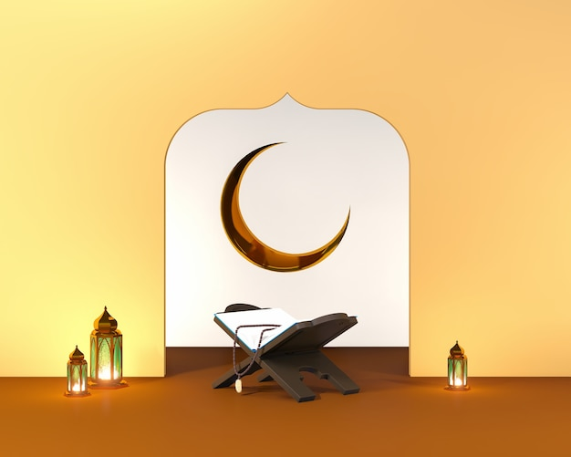 Islamic 3d render arabic theme background with alquran moon and arabic lamp