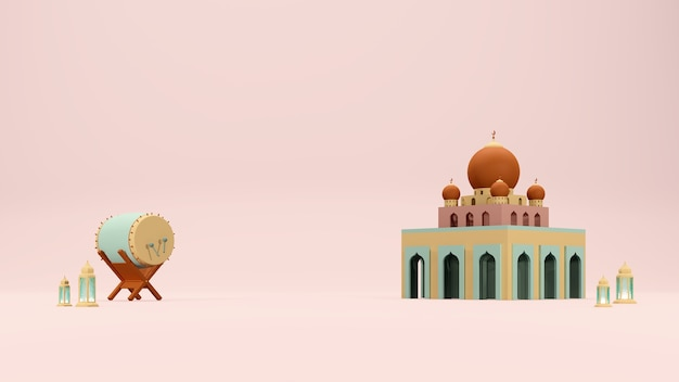 Islamic 3d render arabic theme background with mosque drum and arabic lamp