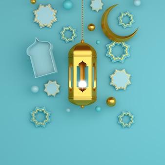 イスラムの背景の金のランタンと三日月3dレンダリング