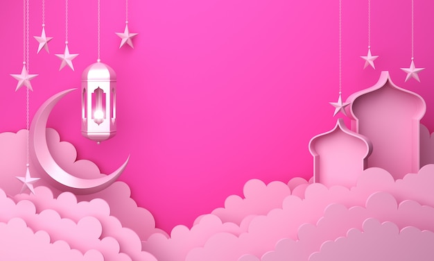 Исламский фон фонарь мечеть окно и облако
