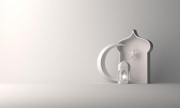 伊斯兰背景灯笼和新月