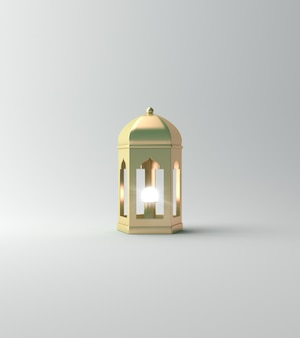 Фонарь исламского фона на белом