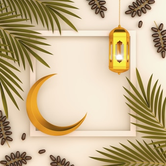 Islamic background with lantern date palm leaves and crescent