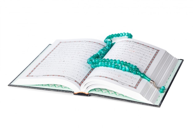 Islamic book holy quran and beads