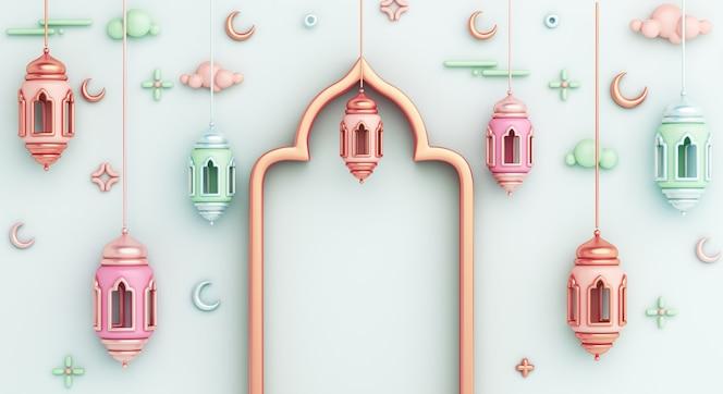 исламский фон украшения с арабским фонарем полумесяцем копией пространства