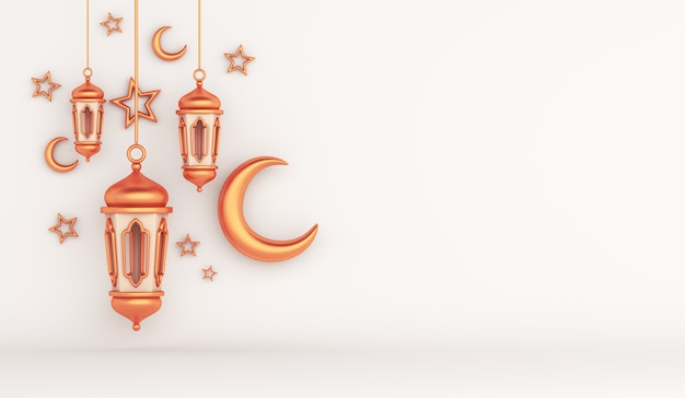 Islamic decoration background with arabic lantern crescent star copy space
