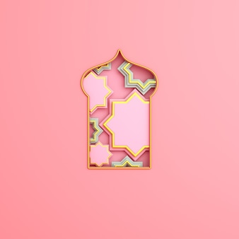 Islamic decoration background with arabic window crescent copy space