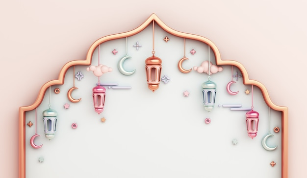 Islamic decoration background with arabic window frame lantern crescent copy space