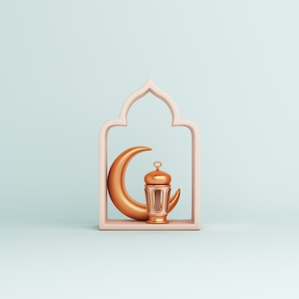 Islamic decoration background with arabic window frame lantern crescent