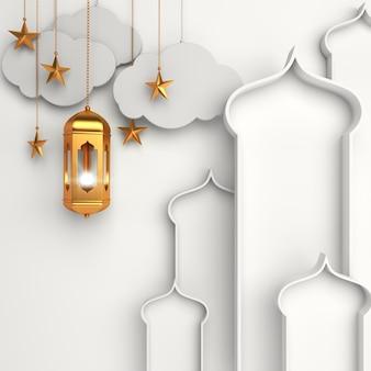 Islamic decoration background with arabic window lantern