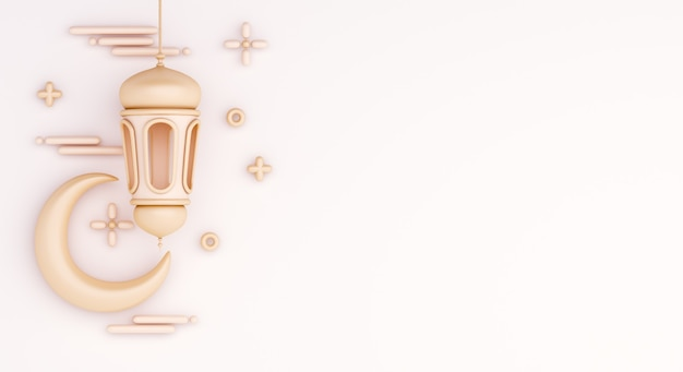 Исламский фон украшения с полумесяцем и арабским фонарем Premium Фотографии