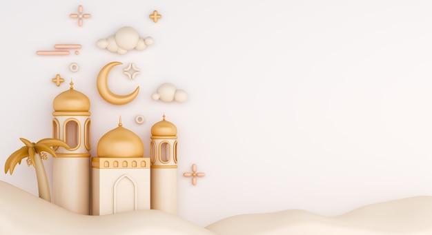Исламский фон украшения с полумесяцем и мечетью мультяшном стиле