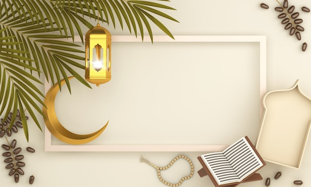 Islamic decoration background with crescent arabic lantern quran