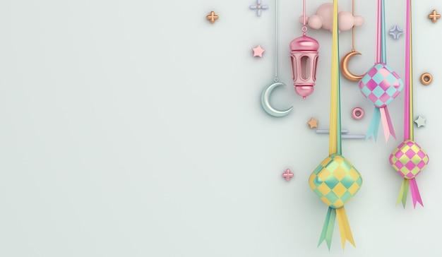 Islamic decoration background with ketupat arabic lantern crescent copy space Premium Photo