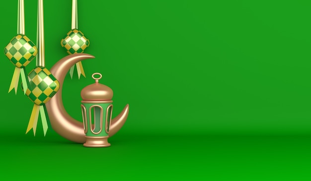 Islamic decoration background with ketupat crescent arabic lantern copy space