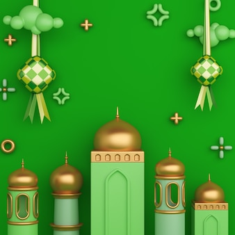 Islamic decoration background with ketupat crescent mosque copy space