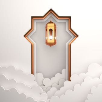 Islamic decoration background with lantern cloud