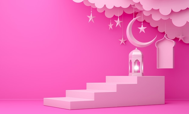Islamic decoration background with lantern crescent cloud step