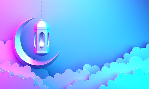 Islamic decoration background with lantern crescent cloud