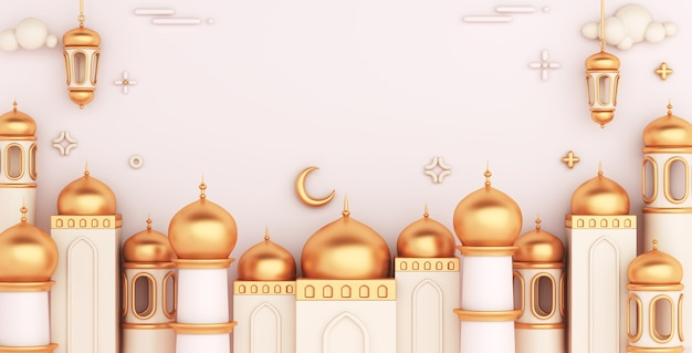 Islamic decoration background with mosque arabic lantern copy space