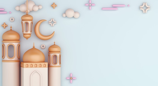 Islamic decoration background with mosque arabic lantern crescent