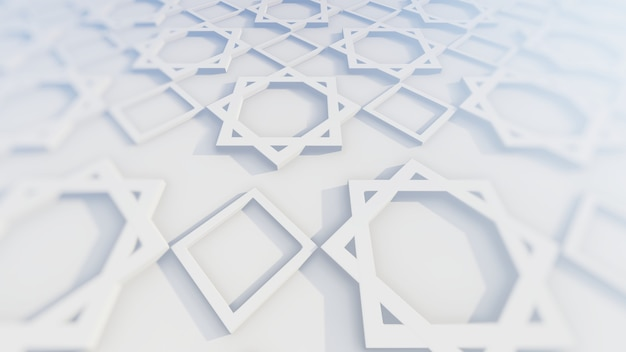 Islamic decoration and persian ornament in 3d illustration