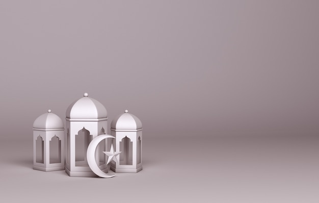 Islamic decoration with arabic lantern crescent copy space