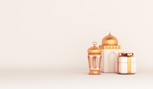 Islamic decoration with arabic lantern mosque gift box copy space