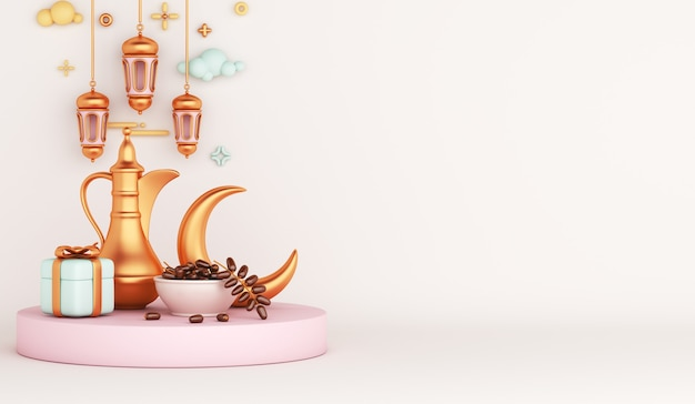 Islamic decoration with arabic teapot lantern dates fruit gift box crescent iftar illustration