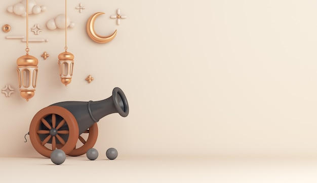 Islamic decoration with cannon arabic lantern crescent copy space