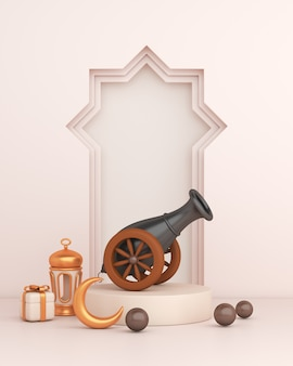 Islamic decoration with cannon arabic window frame lantern crescent