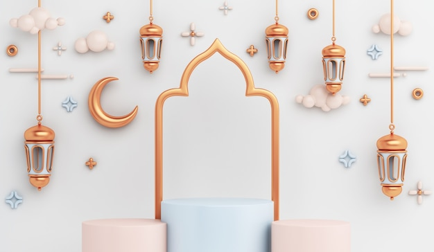 Islamic display podium decoration with arabic lantern crescent