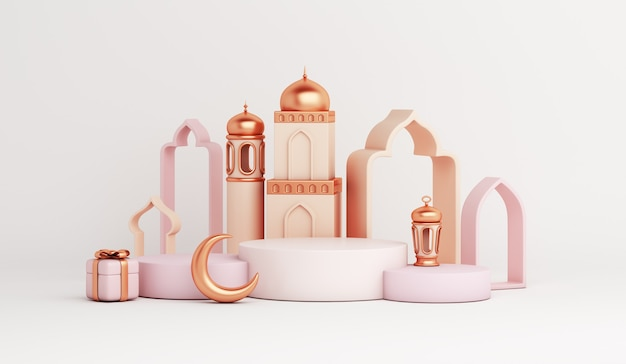 Islamic display podium decoration with mosque arabic lantern crescent