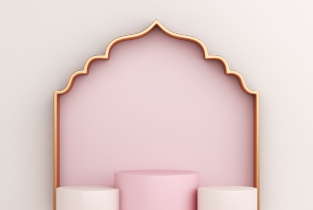 Islamic display podium with arabic window frame