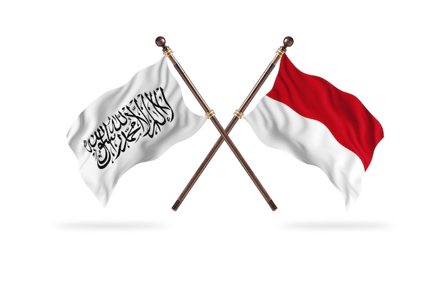 Islamic emirate of afghanistan versus indonesia two flags background