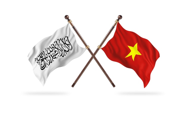 Islamic emirate of afghanistan versus vietnam two flags background