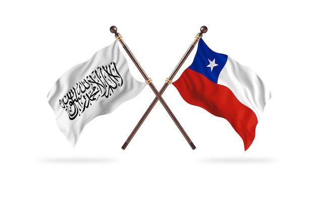 アフガニスタンのイスラム首長国対チリの2つの旗の背景