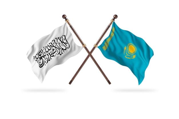 Исламский эмират афганистан против фона двух флагов казахстана